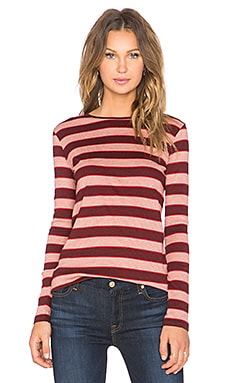 MiH Jeans Kate Long Sleeve Tee in Red & Black