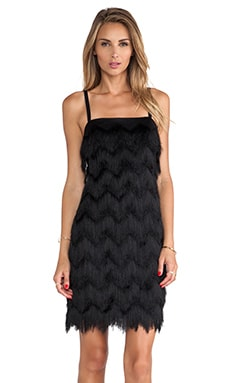 MILLY Fringe Dress in Black