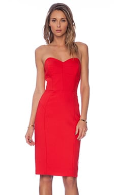 MILLY Marta Strapless Dress in Red