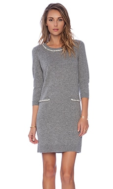 MILLY Embellished Trim Dress in Heather Grey