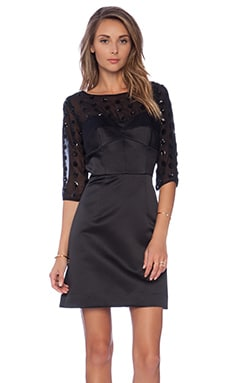 MILLY Seamed Bustier Sleeve Dress in Black