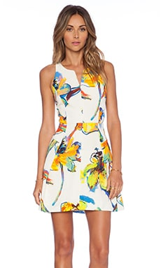 MILLY Racer Back Dress in White Floral