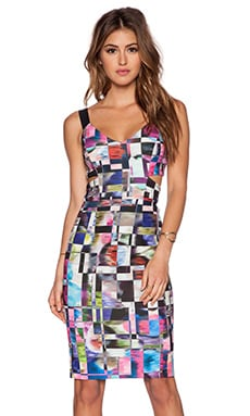 MILLY Cubist Print Cut Out Dress in Multi