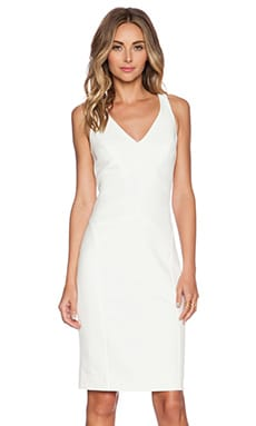 MILLY Angular Midi Dress in White