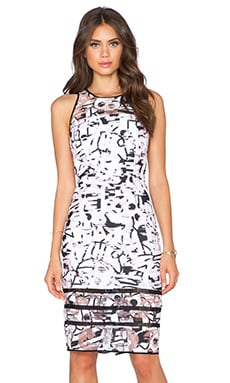 MILLY Ladder Trim Dress in Black & White