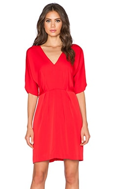 MILLY Dolman V Neck Dress in Red