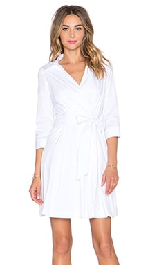 MILLY Pleated Wrap Dress in White