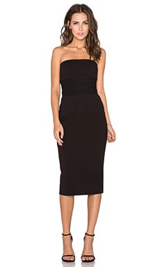 MILLY Strapless Midi Dress in Black