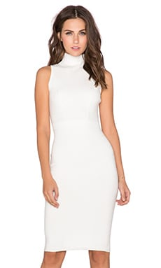 MILLY Fitted Midi Dress in White