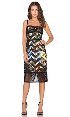 MILLY Zig Zag Corsette Dress in Multi