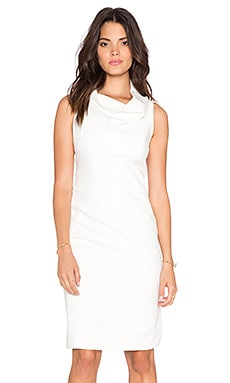 MILLY Cowlneck Midi Dress in White