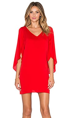 MILLY V Neck Butterfly Sleeve Dress in Poppy
