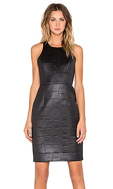 MILLY Croc Embossed Racerback Sheath Dress in Black