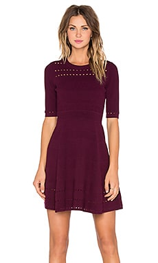 MILLY Textured Stitch Flare Dress in Burgundy