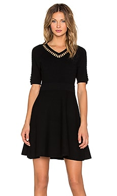 Bar Inset Fit & Flare Dress in Black