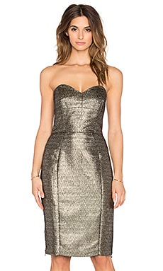 Marta Couture Metallic Strapless Dress in Gold
