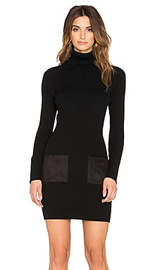 MILLY Slim Rib Suede Pocket Dress in Black