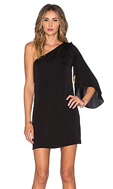 MILLY Olivia Stretch Silk Dress in Black