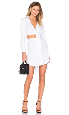 Cutout Shirt Dress in White
