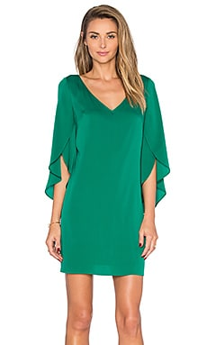 MILLY V Neck Butterfly Sleeve Dress in Emerald
