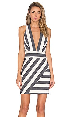Deep V Cross Back Dress in Navy