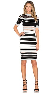 MILLY Invisible Stripe Cutout Dress in Neutral Multi