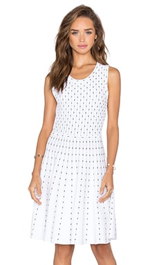 MILLY Vertical Dot Flare Dress in Ivory & Black