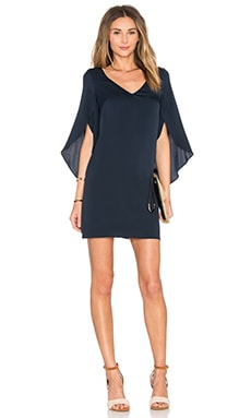 V Neck Butterfly Sleeve Dress in Navy