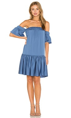 Off the Shoulder Flutter Dress in Steel Blue