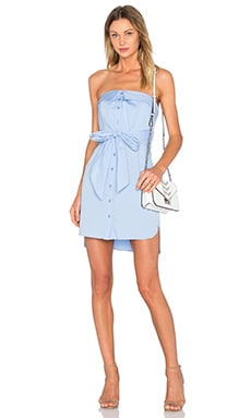 Strapless Tie Shirt Dress in Sky