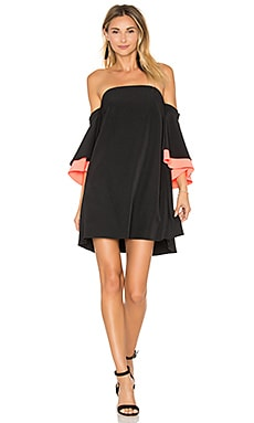 Mila Double Flutter Sleeve Dress in Black