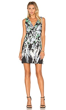 MILLY Painted Floral Mini Dress in Black Multi
