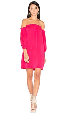 Off Shoulder Dress in Fluo Pink