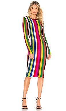 Фото - Платье chevron vertical stripe - MILLY красного цвета