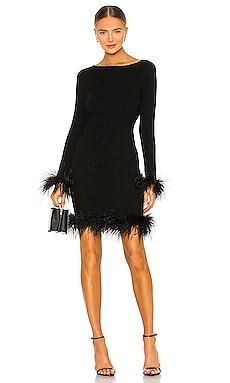 Feather Hem Fitted Dress MILLY $395 NEW