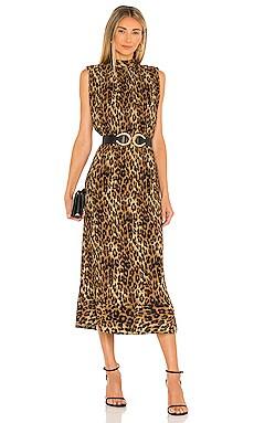 Meina Leopard Print Pleated Dress MILLY $450