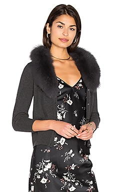 Blue Fox Fur Collar Cardigan in Grey