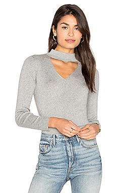 Cut Away Collar Sweater in Grey