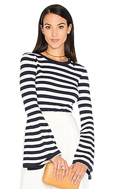 Bell Sleeve Sweater in Navy & White