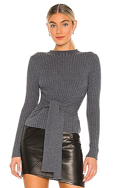 Belted Tie Front Merino Pullover MILLY $295