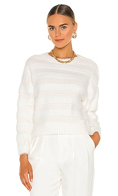 Fuzzy Stripe Knit Top MILLY $275 NEW