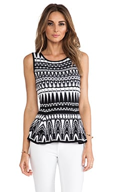 MILLY Graphic Jacquard Flare Shell in Black & White
