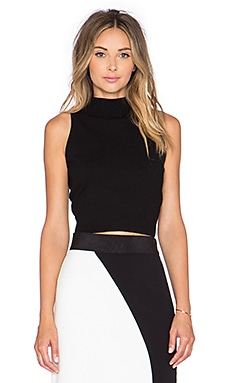 MILLY Crop Mock Neck Top in Black