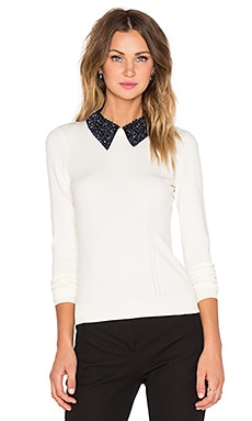 MILLY Beaded Tuxedo Collar Sweater in White