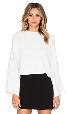 MILLY Architectural Draped Sweater in White