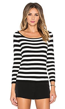 Stripe Ballet Neck Sweater in Black & White
