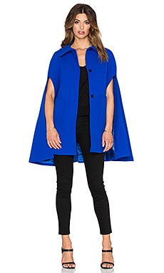 MILLY Funnel Neck Cape Coat in Cobalt
