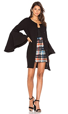 Flare Sleeve Tie Coat in Black