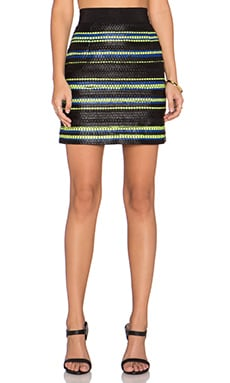 MILLY Couture Laminated Zip Back Skirt in Multi