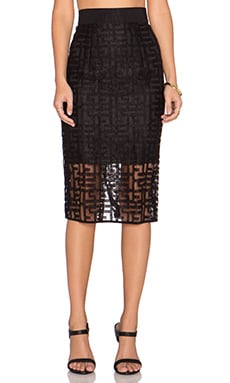 MILLY Jacquard Midi Skirt in Black